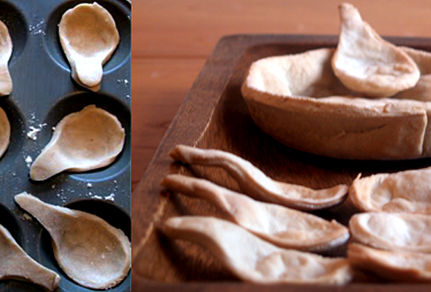 Images of dough being shaped over a ceramic bowl to be baked in the oven.