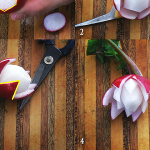 how to carve a flower from a radish