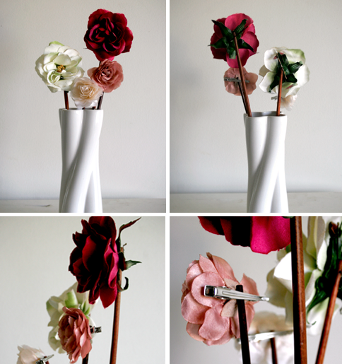 flower hair clips in vase