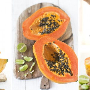 A quick, healthy and easy snack. papaya and lime juice. delicious!